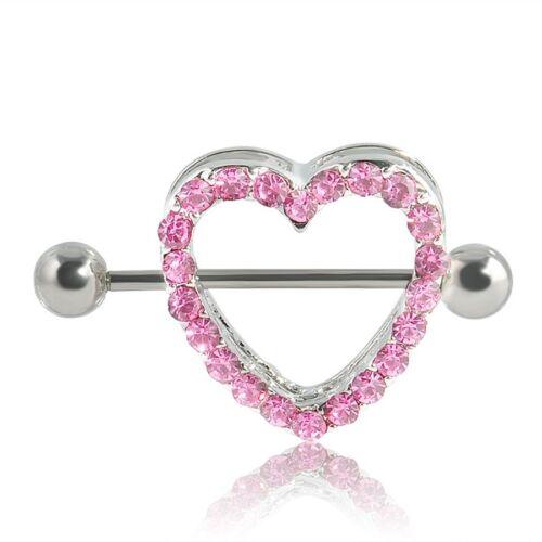Heart Shape Nipple Shield Love Ring Steel Barbell Body Piercing Crystal Gem Bar
