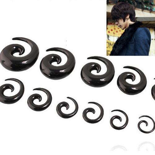 1 Paar Spiral Swirl Acryl Ohrstöpsel Keil Expander Taper Tunnels Schwarz^
