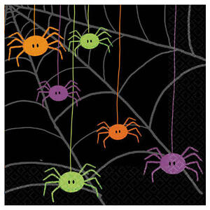 Spider-Themed-Party-Napkin-Serviettes-Pk20-2Ply-Cute-Bright-Spiders-on-Black