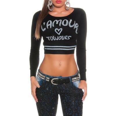 Pullover mit langen Ärmeln /& bauchfrei Streifen Strick Einheitsgröße 34 36 38