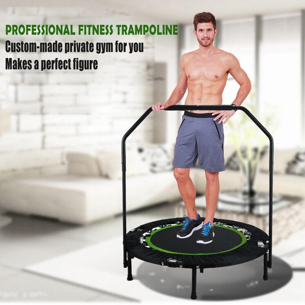 Faltbar Trampolin Fitness Exercise mit Handlauf Fitnesstrampolin 804014cm Top