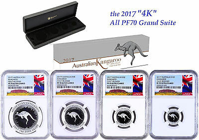 Conscientious 2017 Australia Red Kangaroo Silver Proof 4 Coin Set Ngc Pf70 1 1/2 1/4 1/10oz Fr To Be Renowned Both At Home And Abroad For Exquisite Workmanship Skillful Knitting And Elegant Design Australia & Oceania