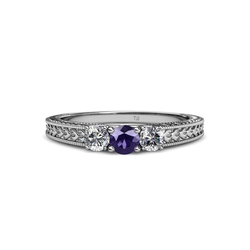 Iolite and Diamond 3 Stone Ring with Milgrain Work 0.50 ct tw in 14K gold