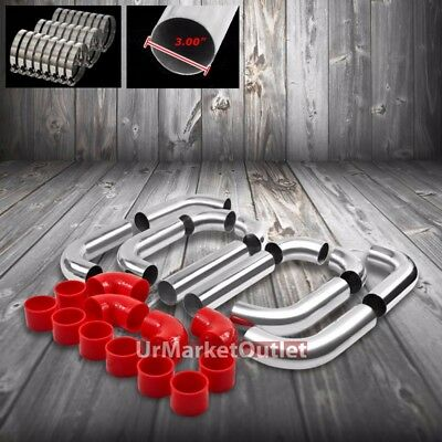 "3/"" Red Universal 8PCS Turbo Front Intercooler Piping Silicone Hose T-Clamp Set"