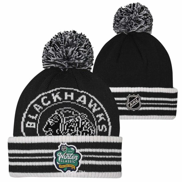 One Size - Chicago Blackhawks Youth Winter Classic Cuffed Pom Knit Hat -  Black bee65e441b1