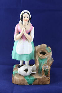 Vintage-Porcelain-Ceramic-Pottery-Girl-with-Cross-Necklace-Praying-Figurine