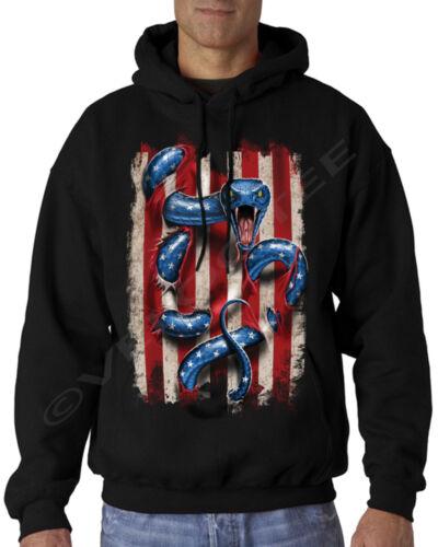 Velocitee Uomo Felpa Con Cappuccio Bandiera Americana USA /& SNAKE SERPENTE A21565