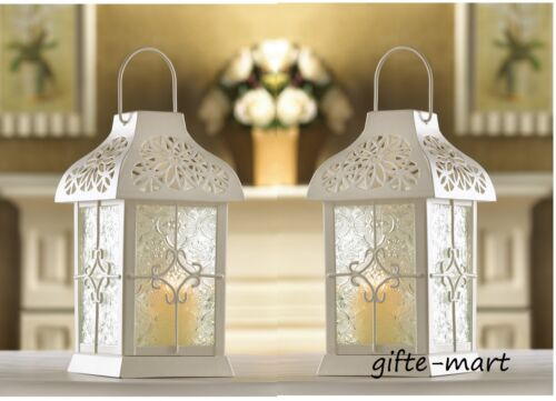 """2 White 9/"""" Tall flower Candle holder Lantern Lamp light outdoor terrace patio"""
