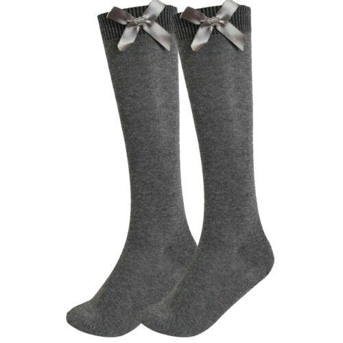 6 Packs Girls Knee High Plain Satin Bow Long Socks Back To School Children 1 3