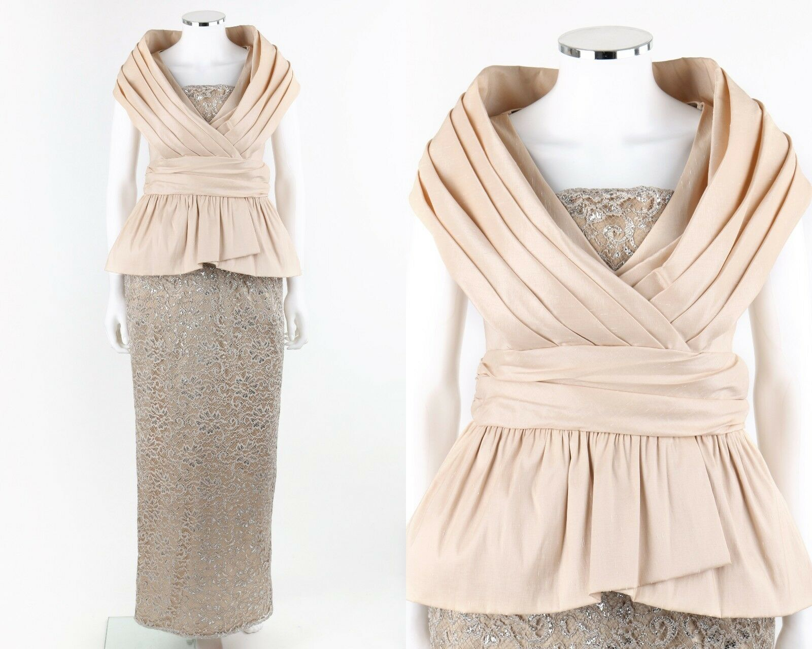 BADGLEY MISCHKA Collection Beige Portrait Collar Peplum Lace Evening Gown Size 8