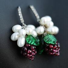 Boucles d`Oreilles Perle de Culture d`Eau Douce Grape Grenat Argent 925 Cadeau