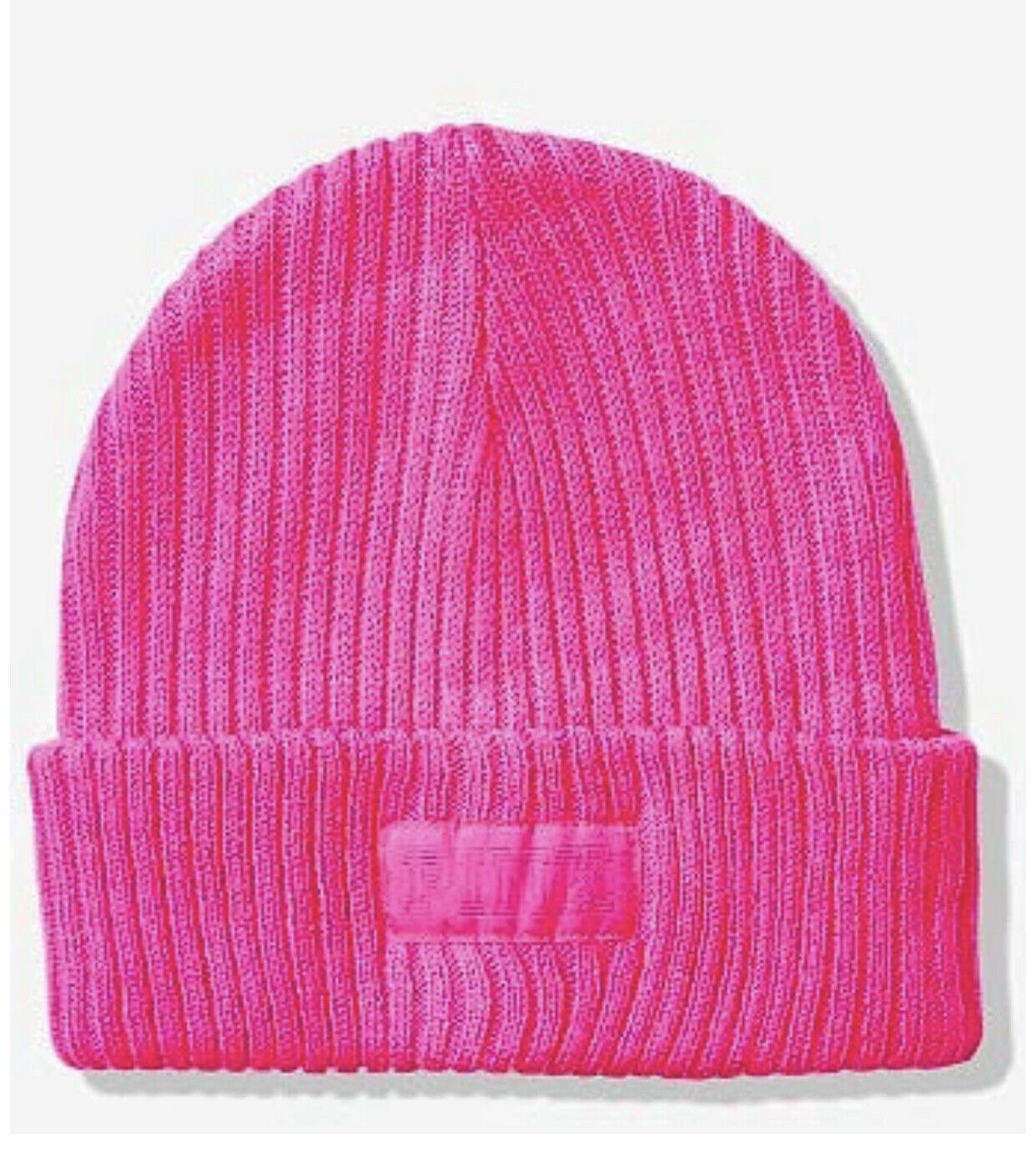 Victoria's Secret Pink Ribbed Beanie Hat Hot Pink Color Cute Warm NEW