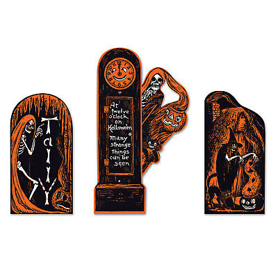 At Twelve O/'Clock On Halloween Skeleton and Black Cat Wood Cutout