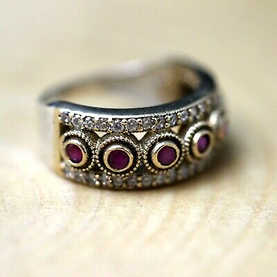 925 Sterling Silver Handmade Antique Turkish Ruby Ladies Ring Size 6-12
