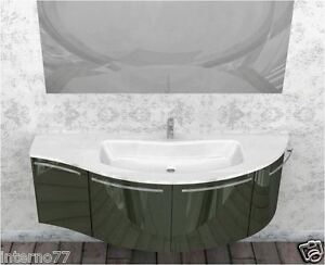 Mobile bagno curvo moderno sospeso mod ly vari colori con for Mobili del bagno