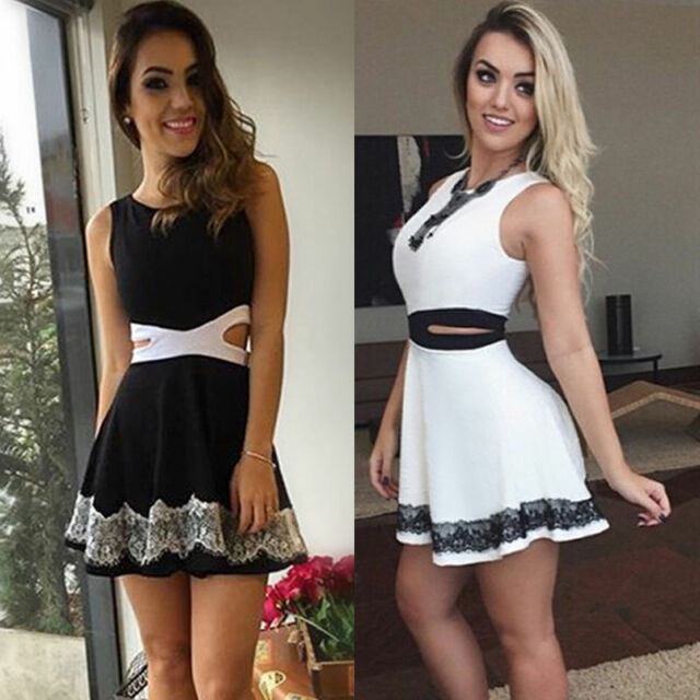 Sexy Women Casual Summer Cocktail Party Sleeveless Lace Short Mini Dress 2017 KY