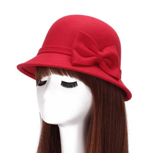 Fall Winter Women/'s Fedora Caps Hat Vintage Wool Wide Brim Bow