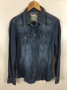 ESPRIT-Jeansbluse-Groesse-38-100-Baumwolle-blau
