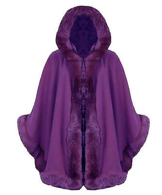 R29 NEW WOMENS FAUX FUR HOODED LADIES CAPE PONCHO IN PLUS SIZE 08-26