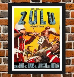 Framed Zulu War Movie Film Poster A4 A3 Size Mounted In Black