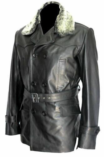 German Submarine Cafe Racer Biker Black Faux Leather Jacket for Mens