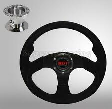 Black Alcantara Suede Steering Wheel +Hub Adapter For Eclipse 90-03 Lancer 88-04
