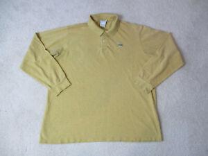 Lacoste-Polo-Shirt-Adult-Extra-Large-Size-7-Yellow-Crocodile-Long-Sleeve-Mens