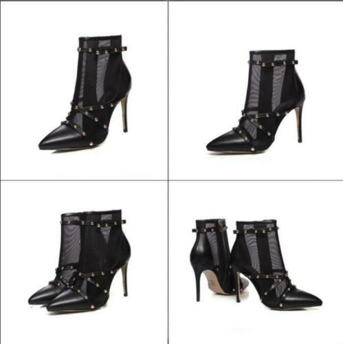 Women Fashion Fishnet Mesh Pointed Toe Studs Straps High Heel Ankle Boots Shoes
