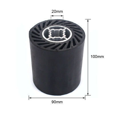 90mm Rubber Polishing Drum Wheel for Wire Drawing Polisher with 5Pcs sandpaper