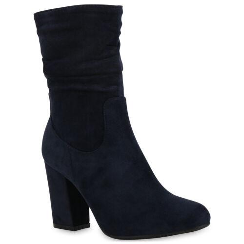 Damen Stiefeletten Gefütterte Stiefel High Heels 831741 Trendy Neu