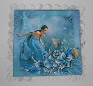 PACK-2-BLUE-FAIRY-BUTTERFLY-TOPPERS-EMBELLISHMENTS-FOR-CARDS-CRAFTS