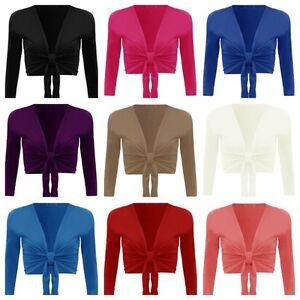 Women's Long Sleeve Tie up Ladies Bolero Shrug Cardigan Top Plus Size 8-22