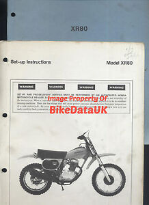 genuine honda xr80 1979 set up manual xr 80 schoolboy enduro he01 rh ebay co uk Honda XR 80 1978 Honda XR80