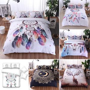Bedding-Set-Duvet-Cover-Pillowcases-Quilt-Bed-Cover-Bohemian-Mandala-King-Queen
