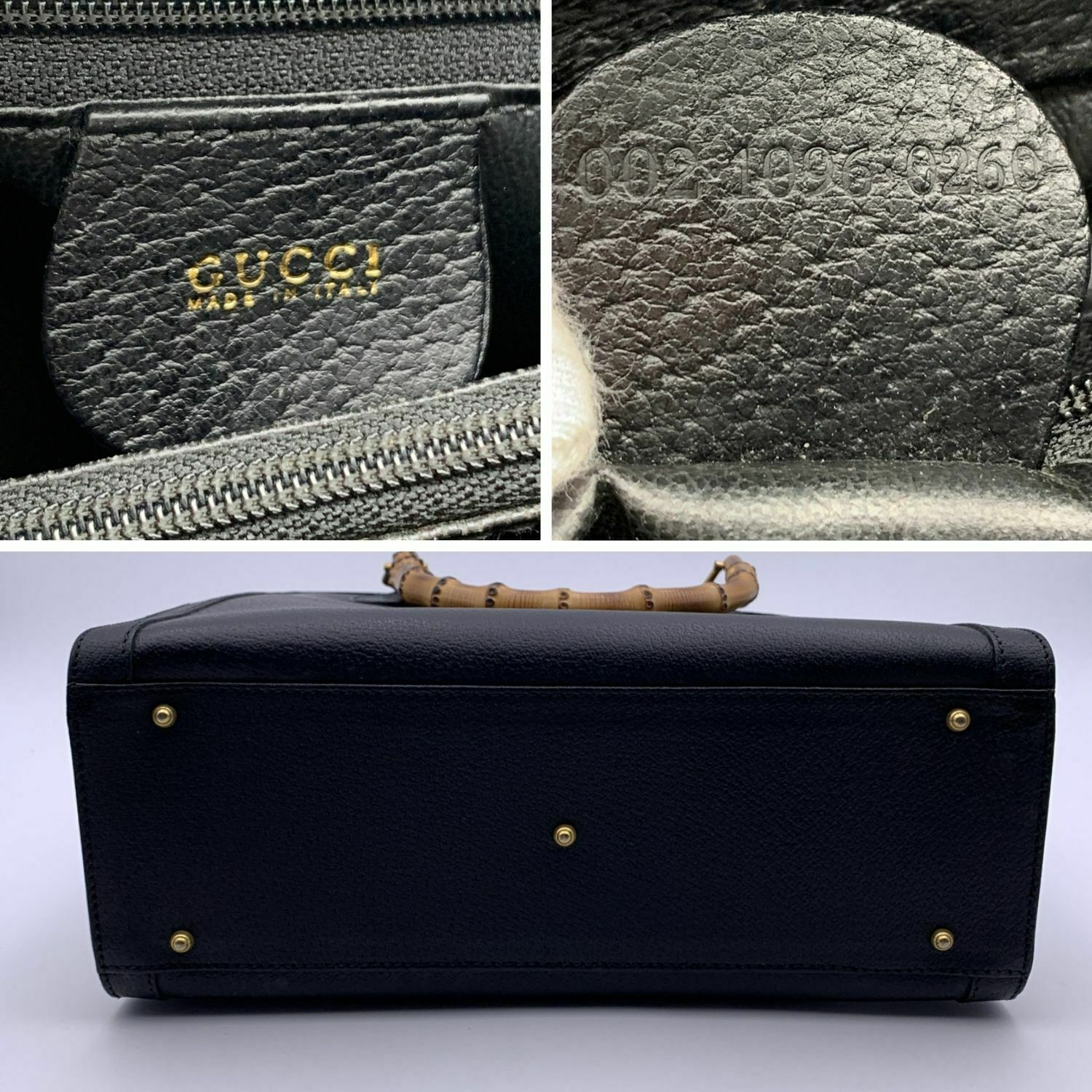 Authentic Gucci Vintage Black Leather Bamboo Prin… - image 8