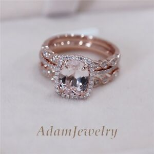 3 Rings Set VS 7x9mm Pink Morganite Wedding Set Matching Band 14K