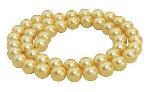 Muschelkernperlen-gold-glaenzend-8-mm-Kugeln-Perlen-Muschelperlen-Strang