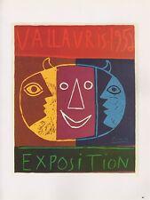 "1989 VINTAGE ""VALLAURIS 1956 EXPOSITION"" PICASSO MOURLOT Color offset Lithograph"
