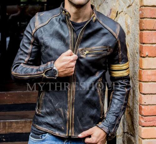 Mens Biker Vintage Cafe Racer Motorcycle Gold Black Handmade Lamb Leather Jacket
