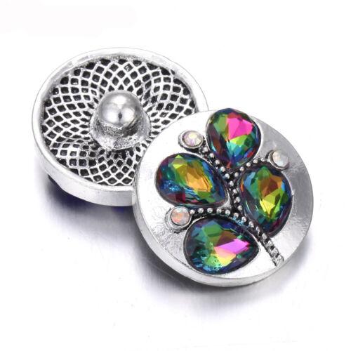 5X Leaf Crystal Chunk Charm Snap Bouton fit 18 mm perceuse Noosa Bijoux Cadeau 67