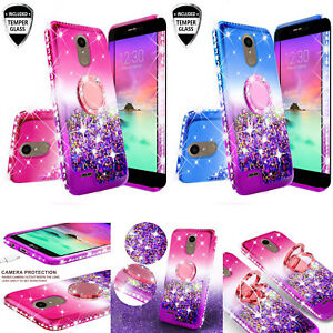 Details About Lg Rebel 4 Lg Risio 4 Lte Liquid Glitter Bling Phone Case Girl Ring Kickstand