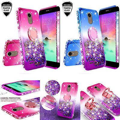LG Rebel 4/LG Risio 4 LTE Liquid Glitter Bling Phone Case Girl Ring  Kickstand | eBay