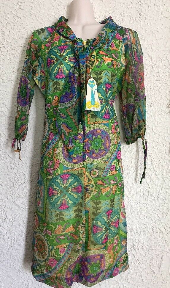 Vintage MOD 60s CAT CAY Miami FL colorful floral Dress Size Medium 38  Chest NWT