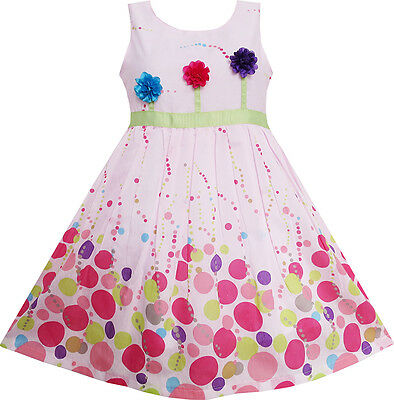 Girls Dress Colorful Dot 3 Flower Green Belt Party Birthday Children SZ 4-12 New