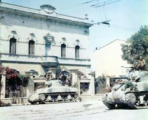 WW2-Color-Photo-M4-Sherman-Tanks-World-War-II-World-War-Two-WWII-US-Army