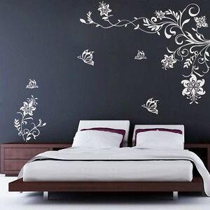 Image Is Loading Butterfly Vine Flower Wall Decals Vinyl Art Stickers  Part 53