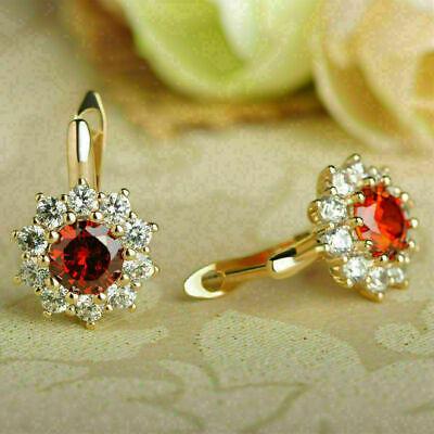 Beautiful 1.16 Ct Red Ruby /& Diamond 14K Yellow Gold Over Huggie Hoop Earrings