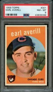 1959-Topps-BB-Card-301-Earl-Averill-Chicago-Cubs-ROOKIE-CARD-PSA-NM-MT-8