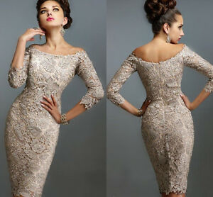 Lace-Short-Mother-of-The-Bride-Dress-Off-Shoulder-3-4-Long-Sleeves-Evening-Gowns