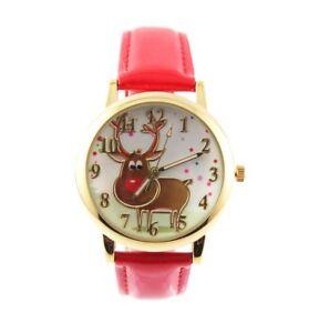 Rednose-Rentier-Armbanduhr-Damen-mit-rot-farbenen-Lackarmband